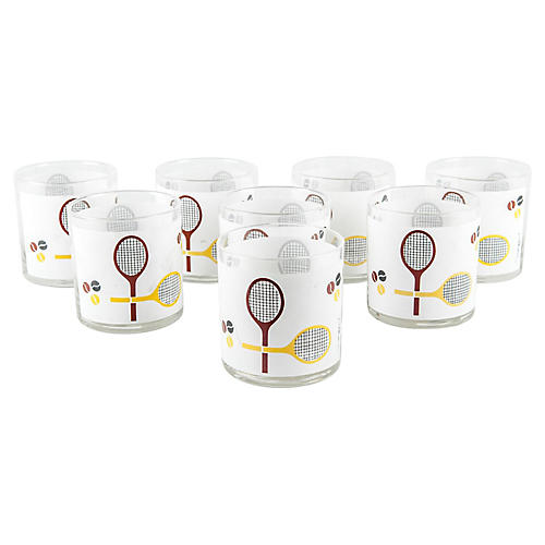 Tennis Lowball Glasses, S/8