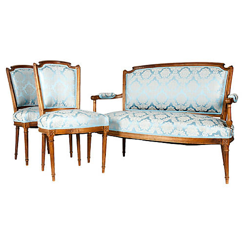 Antique French Settee Set, S/3