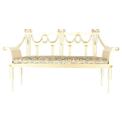Neoclassical French Wood Settee