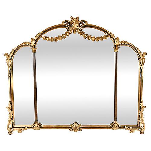 Antique Wood Framed Gilt Bevelled Mirror