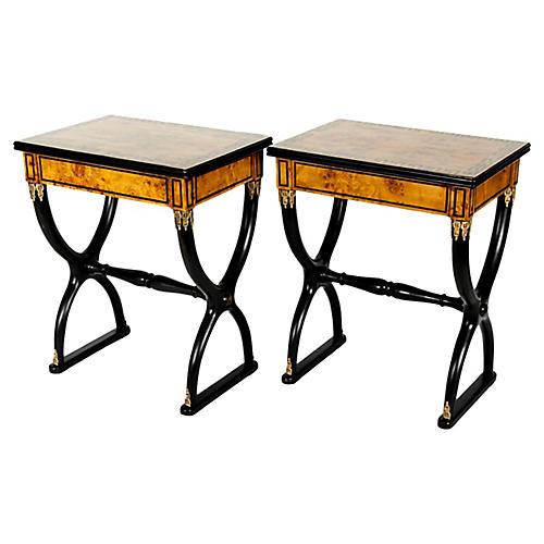 Early 19th-C. Ebony Side Tables, Pr