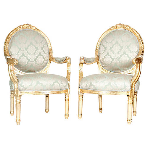 French Giltwood Armchairs, Pair