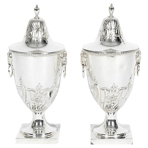 English Silver-Plate Covered Urns, Pair