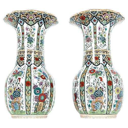 Dutch Porcelain Vases, Pair