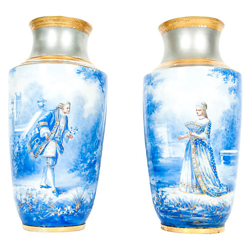 Antique English Porcelain Vases, Pair