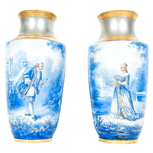 Antique English Porcelain Vases, Pair