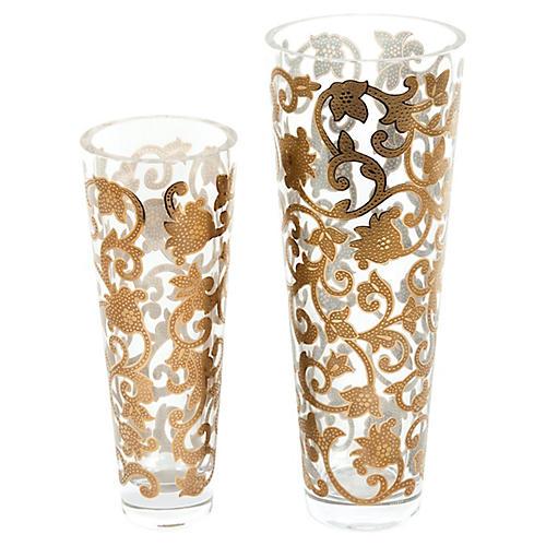 Mid-Century Gilded Vases, S/2