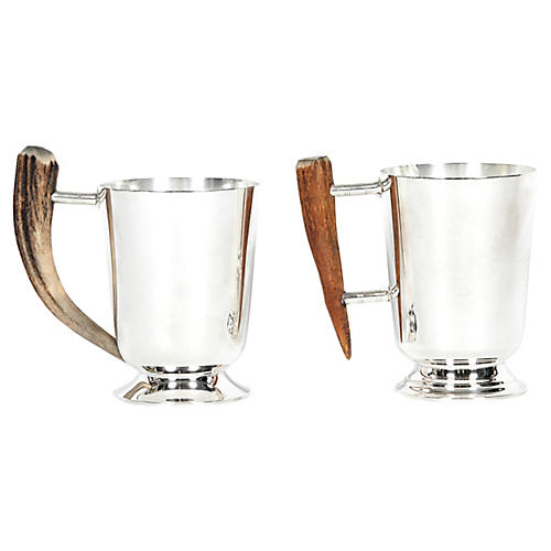 Vintage Pair of Silver Plate Mug with Ho