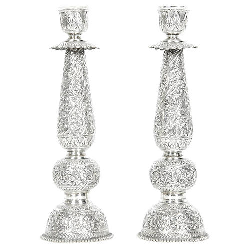 Antique Sterling Silver Candlesticks, Pr