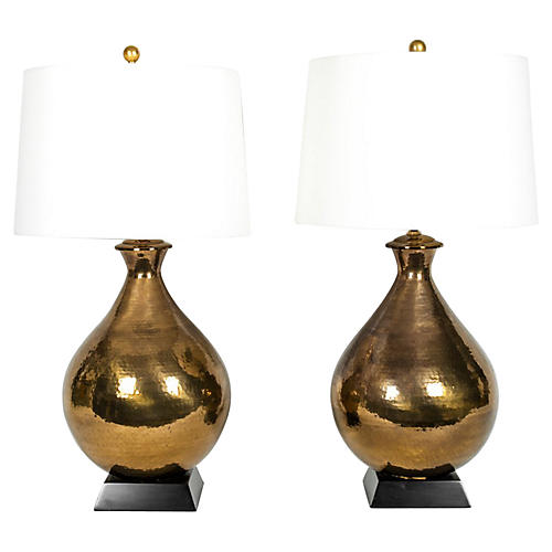 Vintage Hammered Brass Lamps, Pair