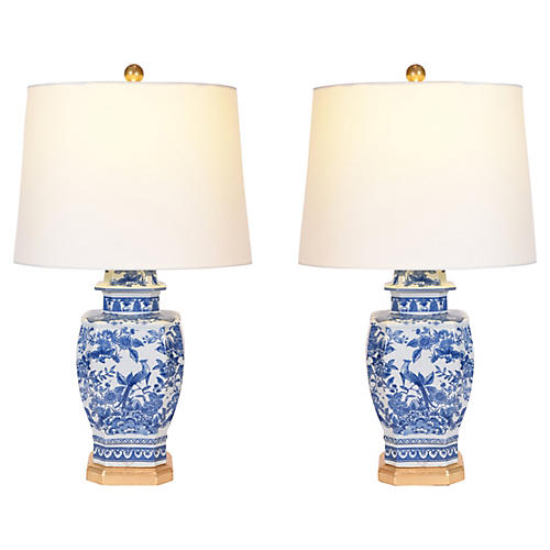 Porcelain Pair Table Lamp With Wood Base