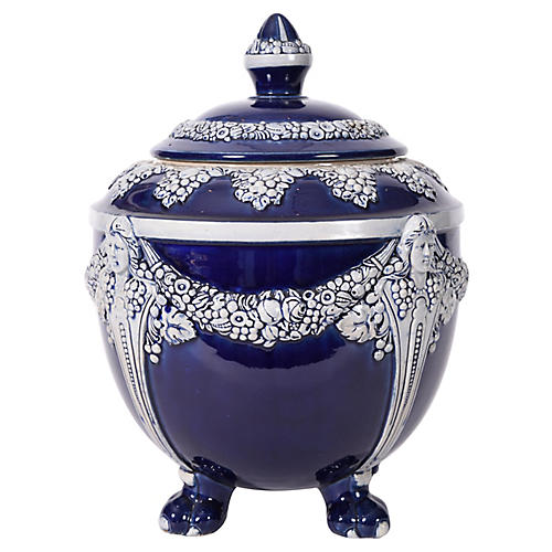 German Porcelain Footed Decorative Piece