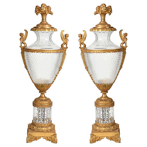 Bronze & Cut Crystal Urns, Pair
