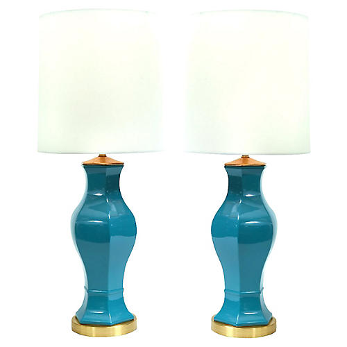 Porcelain & Brass Table Lamps, Pair