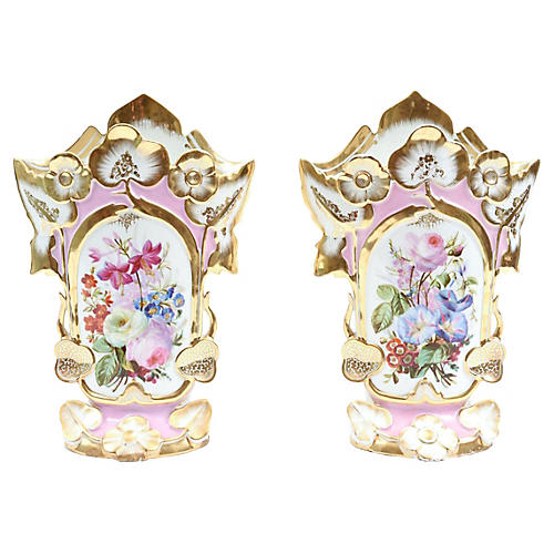 Old Paris Porcelain Vases, Pair