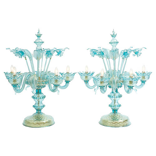 Venetian Flambeau Table Lamps, Pair
