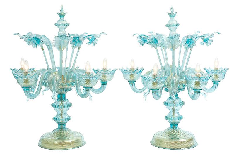 Venetian Flambeau Table Lamps, Pair
