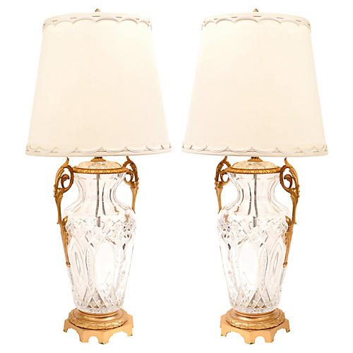 Bronze-Mounted Cut-Crystal Lamps, Pair