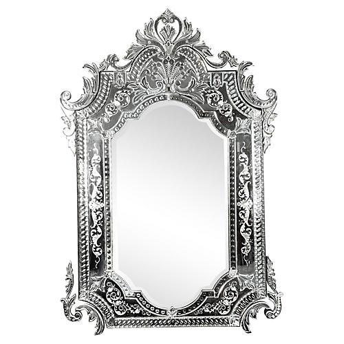 Large Glass Framed Venetian Wall Mirror.