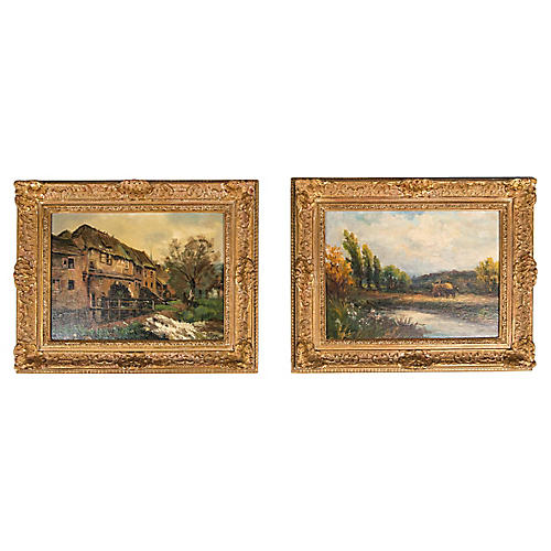 Late 19th Century Pair Oil Painting .