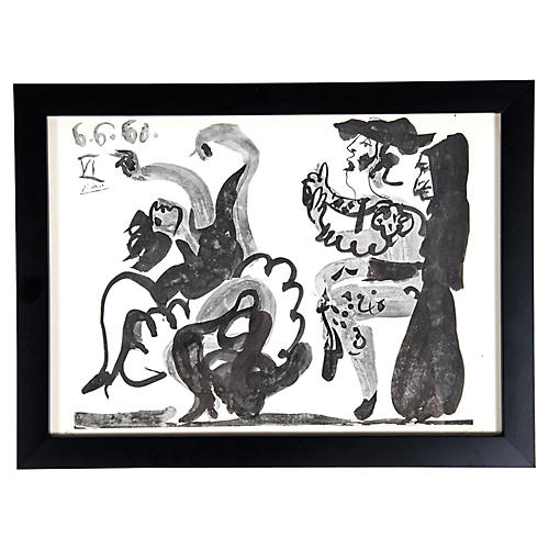 Wood Framed Pablo Picasso Lithograph