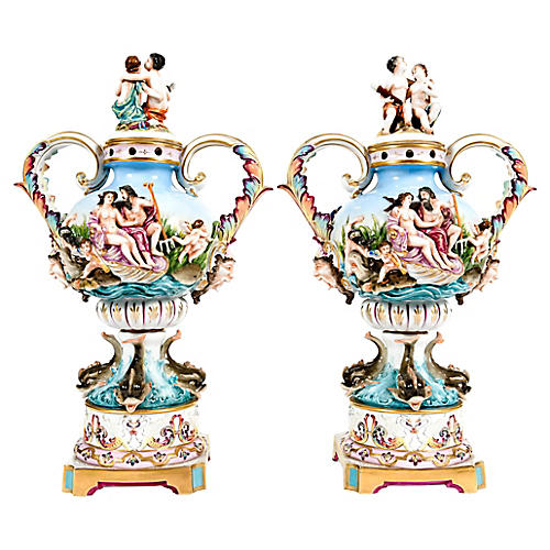 Pair Porcelain Covered Urns