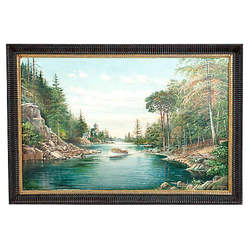 Mahogany Wood Frame Oil/ Canvas Painting