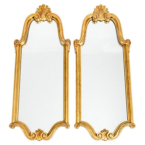 Late 19th-C. Giltwood Mirrors, Pair
