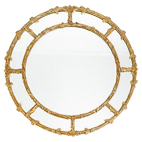 Large Giltwood Beveled Wall Mirror