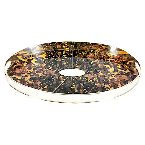 English Plate Tortoiseshell Barware Tray