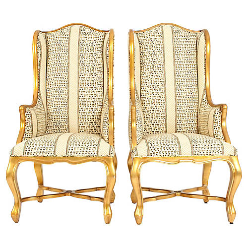 Mid 20th Gilt Wood Frame Pair Armchair