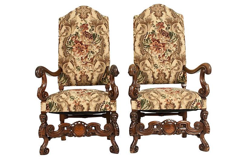Dutch Hand Carved Walnut Wood High Chair