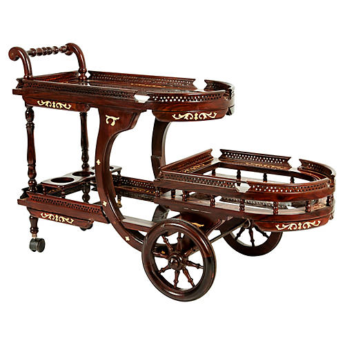 Mid-20th Century Mahogany Inlay Bar Cart