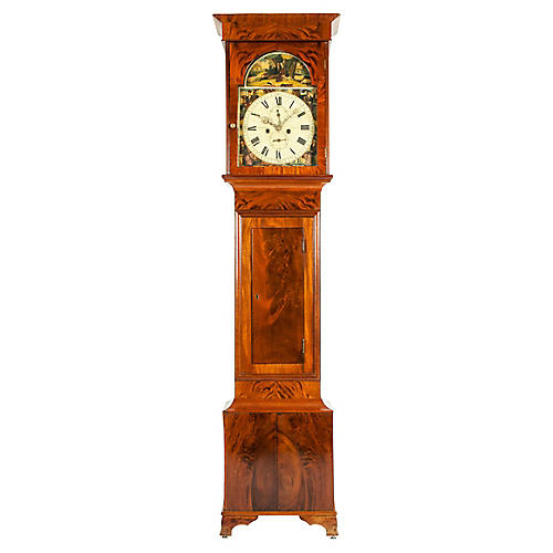 19th Century Mahogany Wood Case Clock