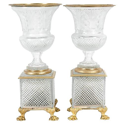 19th Century Bronze & Cut Glass Vases