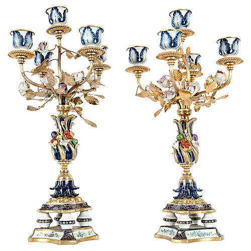 Fine Pair Sèvres Porcelain Candelabras