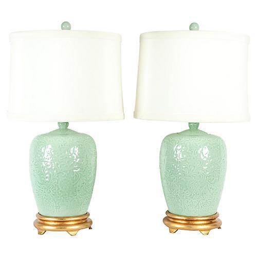 Midcentury Porcelain & Gild Lamps, Pair