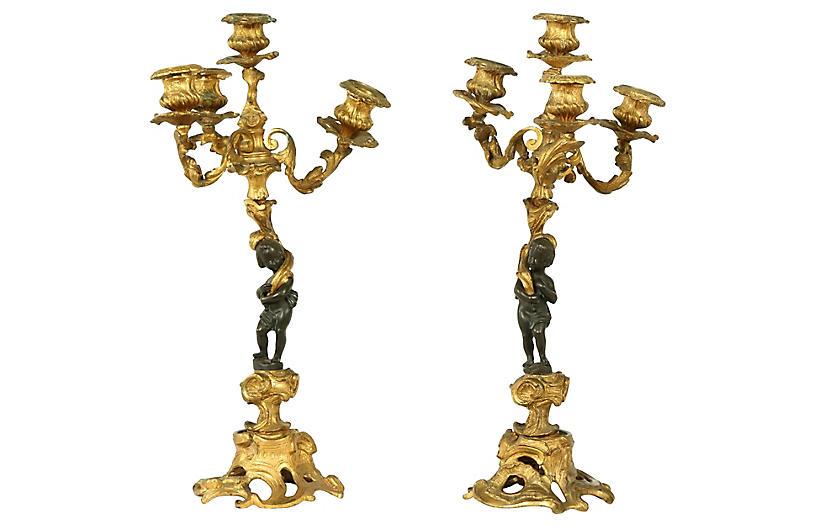 Late 19th Century Bronze Candelabras .