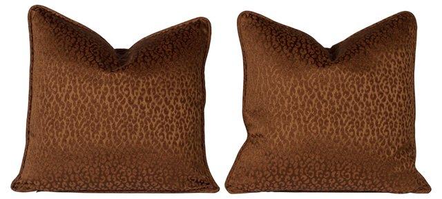 Chocolate Brown Cheetah Pillows, Pair