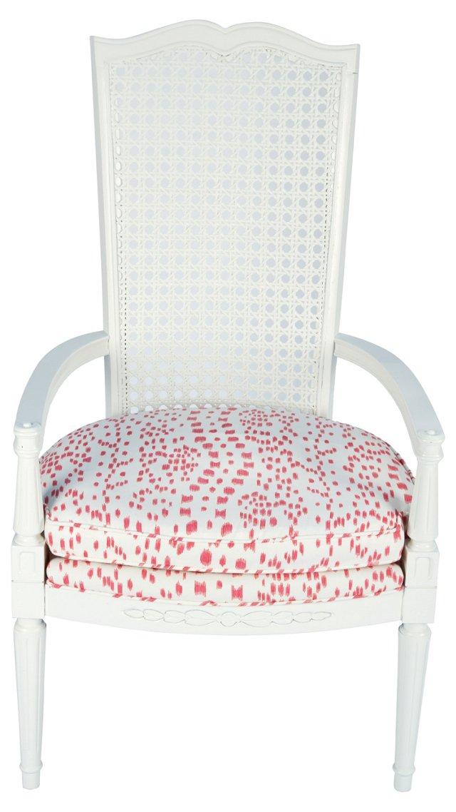 Pink & White Cane-Back Chair