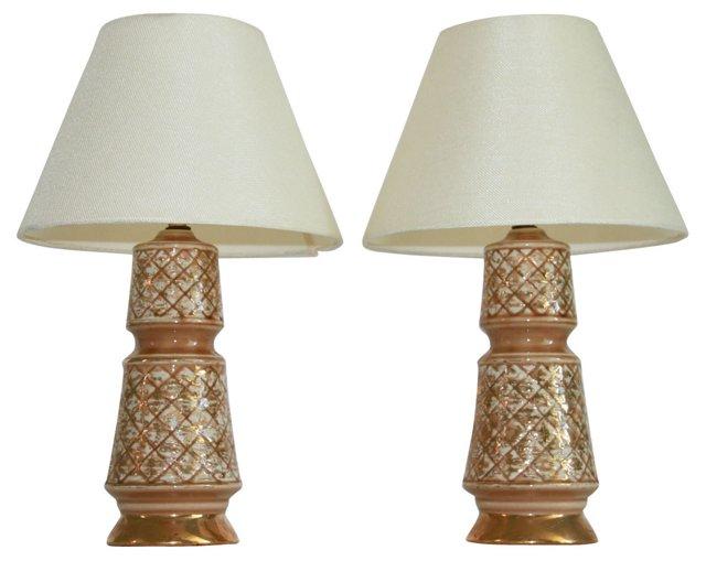 Gold & Pink Desk Lamps, Pair