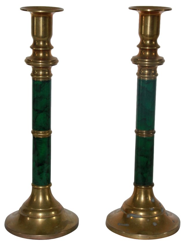 Brass & Malachite Candlesticks, Pair