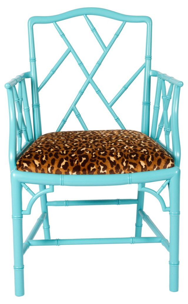 Turquoise Chippendale-Style Chair