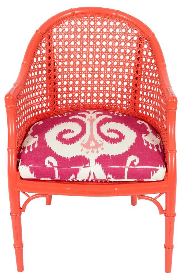 Orange Faux-Bamboo Chair w/ Ikat Print