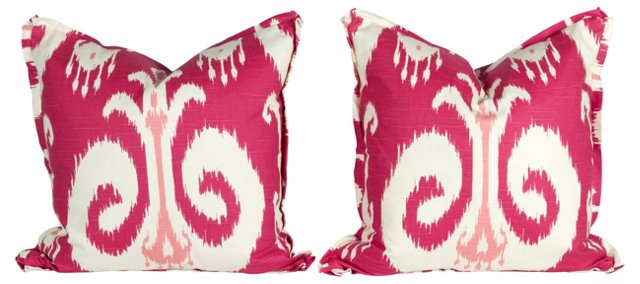 Pink Ikat Pillows, Pair