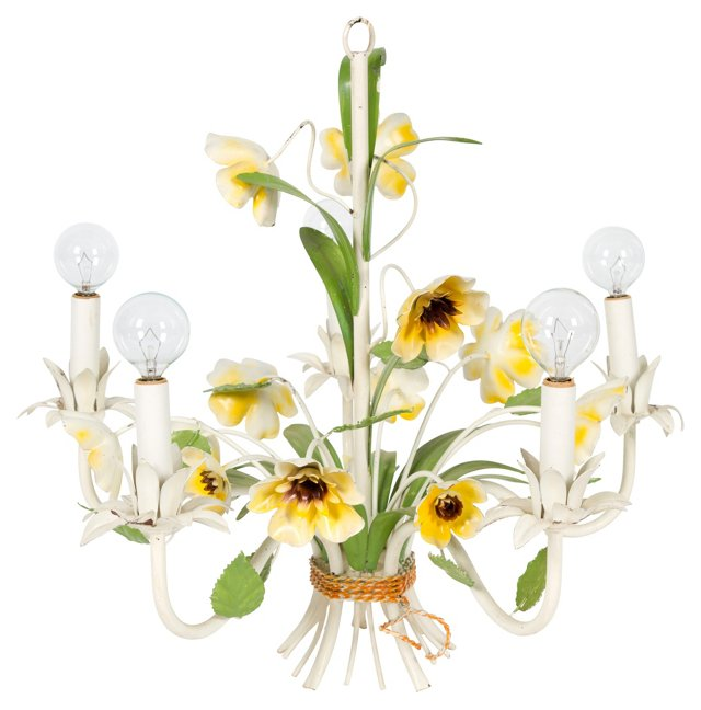 Green & Yellow Floral Tole Chandelier
