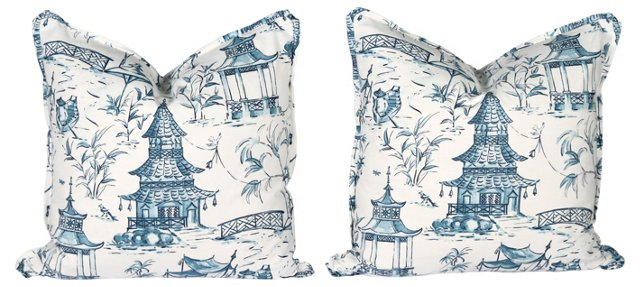 Blue   &    White Pagoda Pillows, Pair