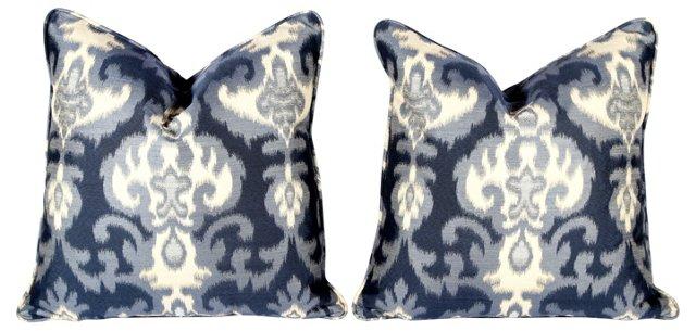 Navy Ikat Pillows, Pair
