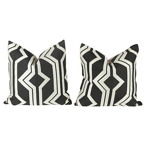Dark Charcoal & Ivory Geometric Pillows