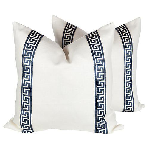 Ivory & Blue Linen Greek Key Pillows S/2